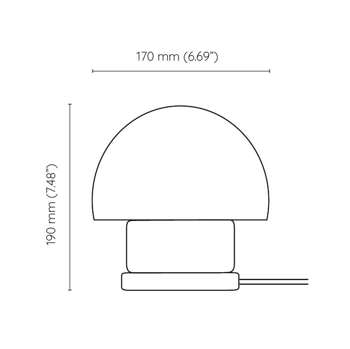 Mała stojąca lampka korkowa ze szklanym kloszem Grzybelk
