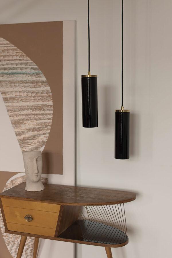 Czarne Szklane Lampy Wiszaca z mosiężnym wykończeniem 4
