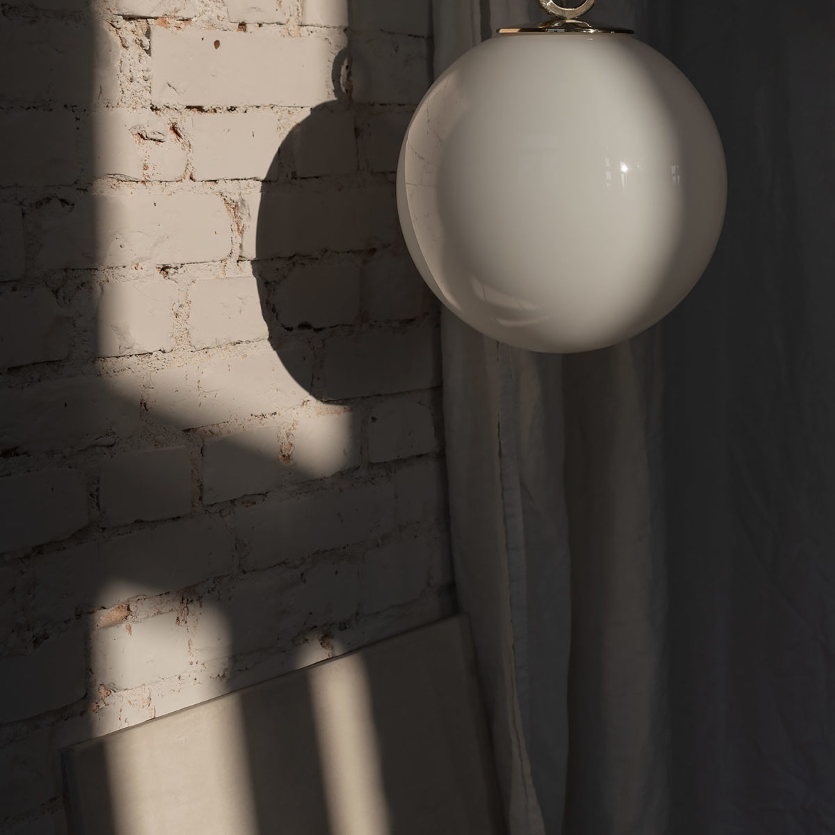 Glass Pendant Light White Ball