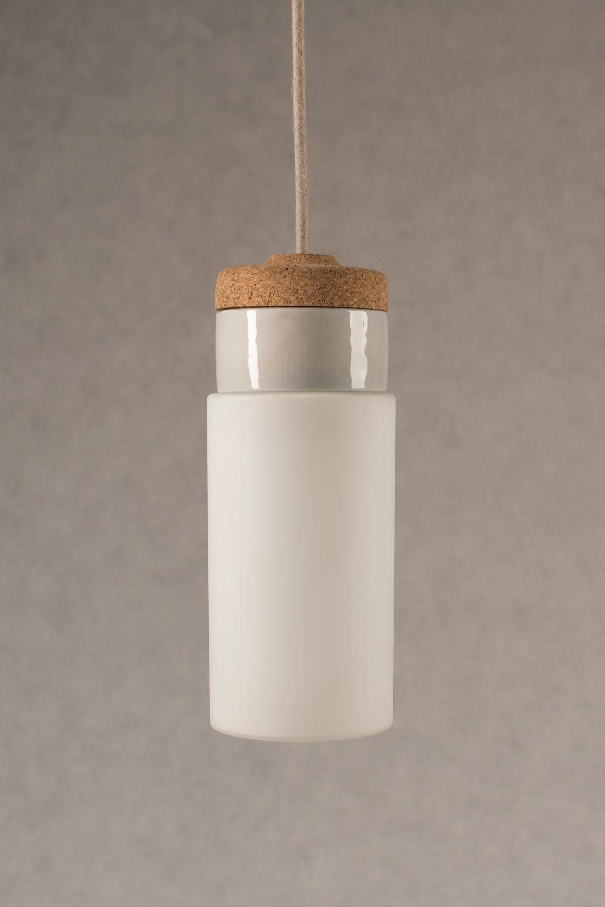 wisząca lampa korkowa z kloszem szklanym Cylinder 3