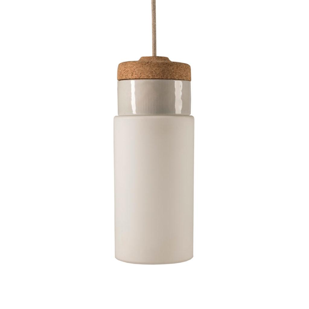 Mała stojąca lampka korkowa ze szklanym kloszem Cylinder 1
