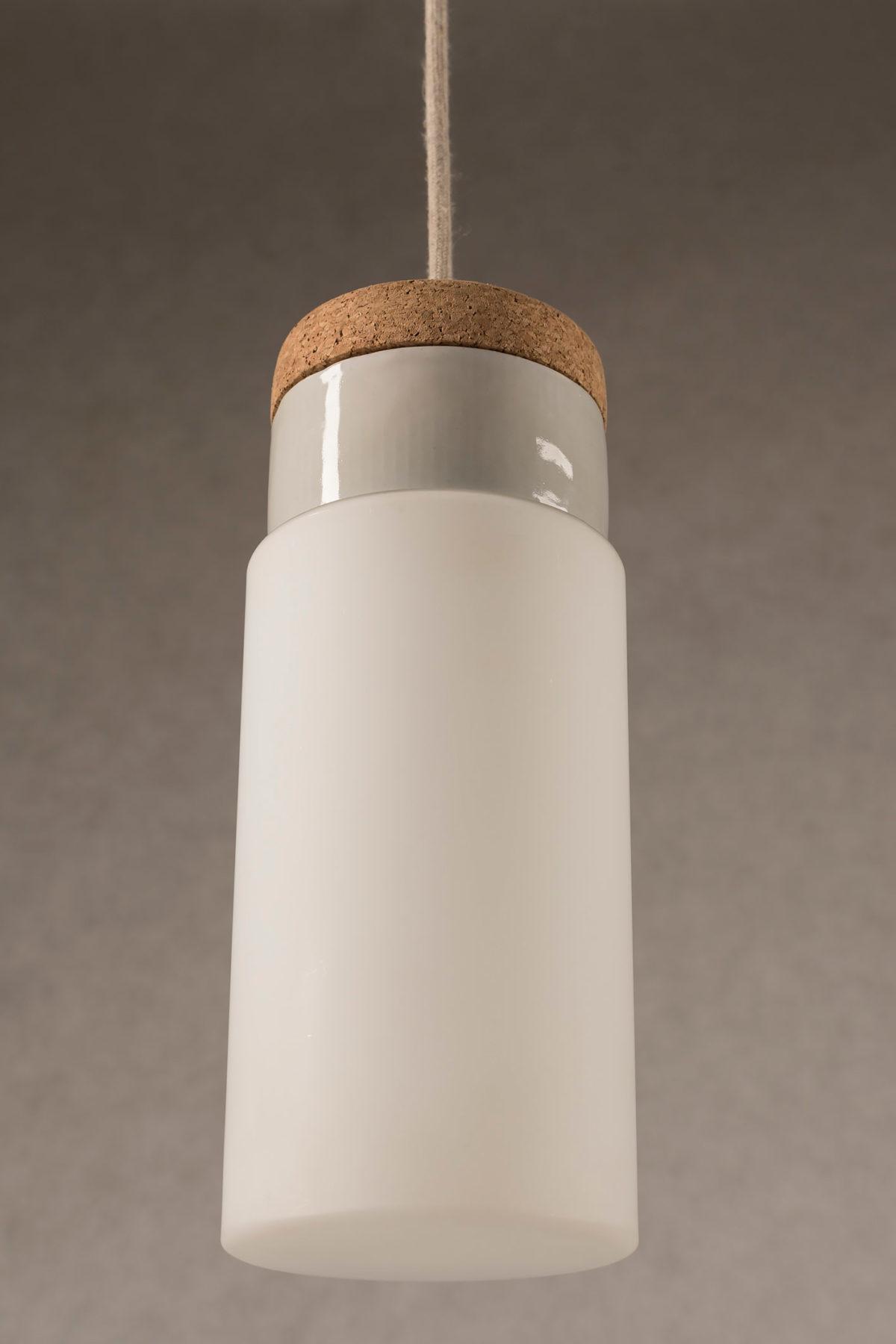 wisząca lampa korkowa z kloszem szklanym Cylinder 2