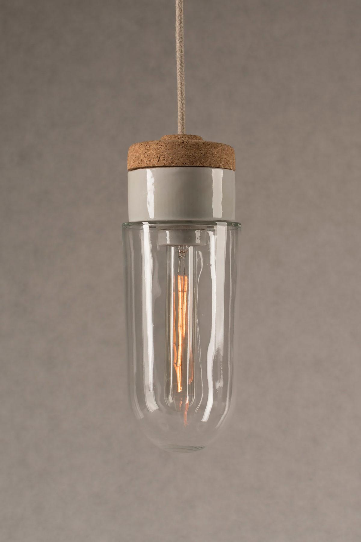 wisząca lampa korkowa z kloszem szklanym probówka 3