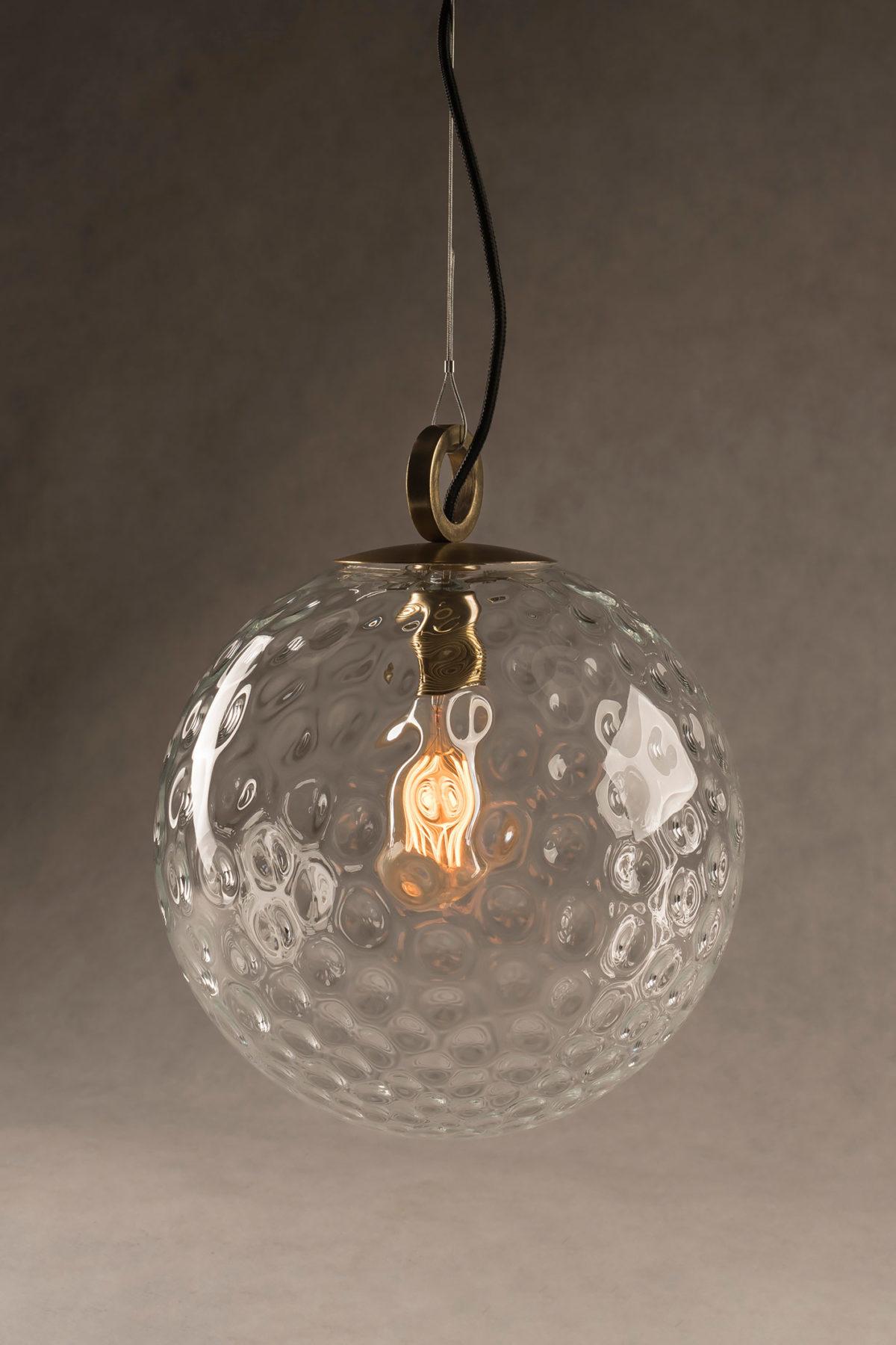 Szklana Lampa Wisząca Kula Refleksyjna z pierścieniem mosiężnym