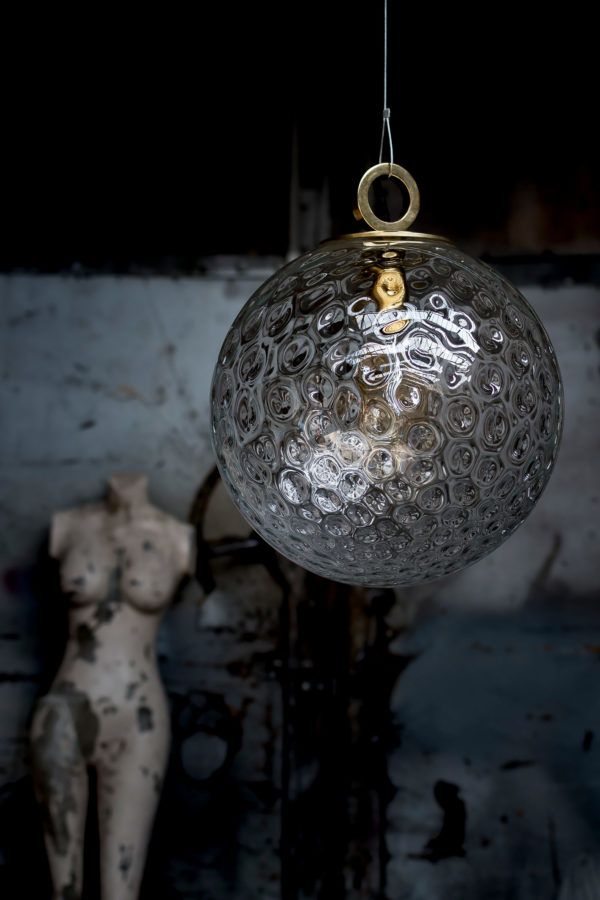 Szklana Lampa Kula Reflesjna z pierścieniem