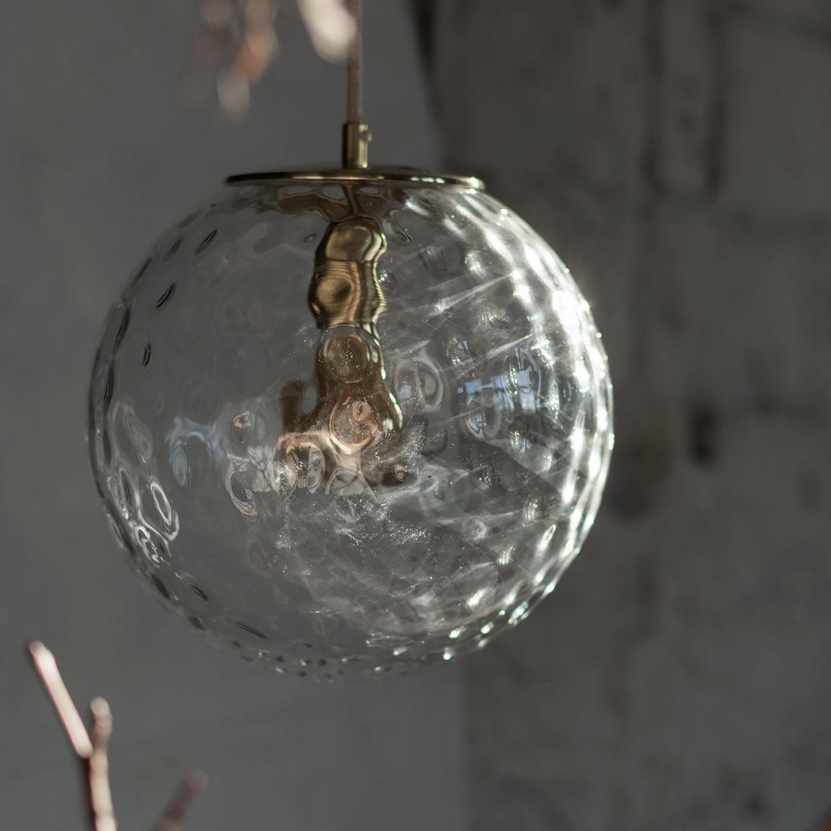 Szklana Lampa Wisząca Kula Refleksyjna z mosiężnym deklem 2