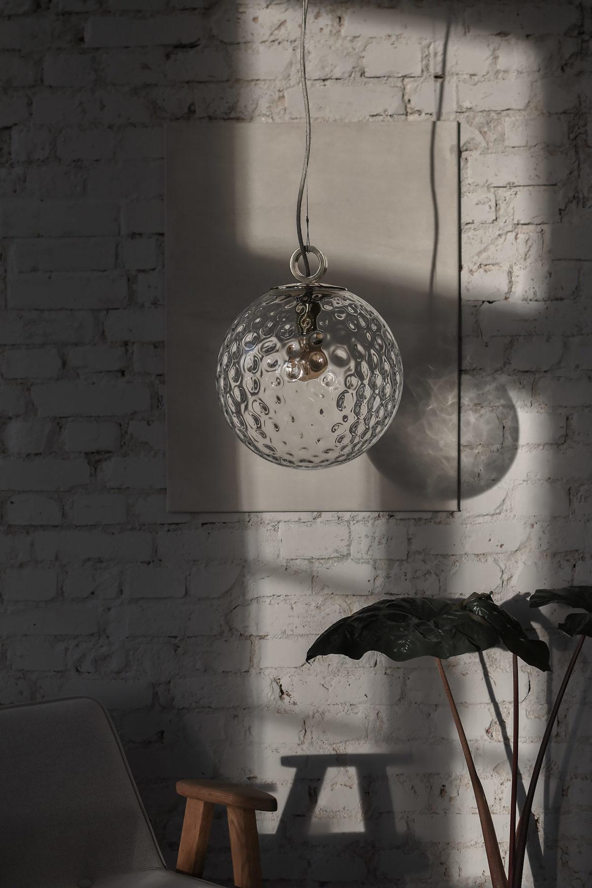Lampa Wisząca Kula Reflesyjna z pierścieniem mosiężnym 2