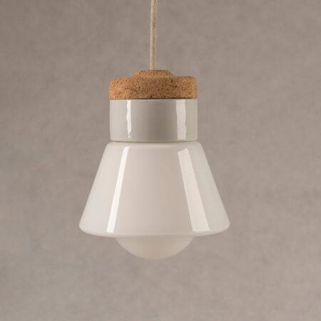 wisząca lampka korkowa z kloszem szklanym Dzwonek