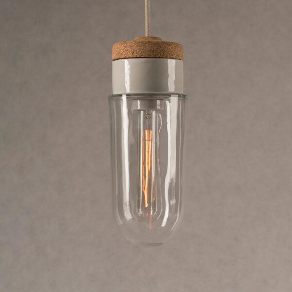 wisząca lampka korkowa z kloszem szklanym probówka