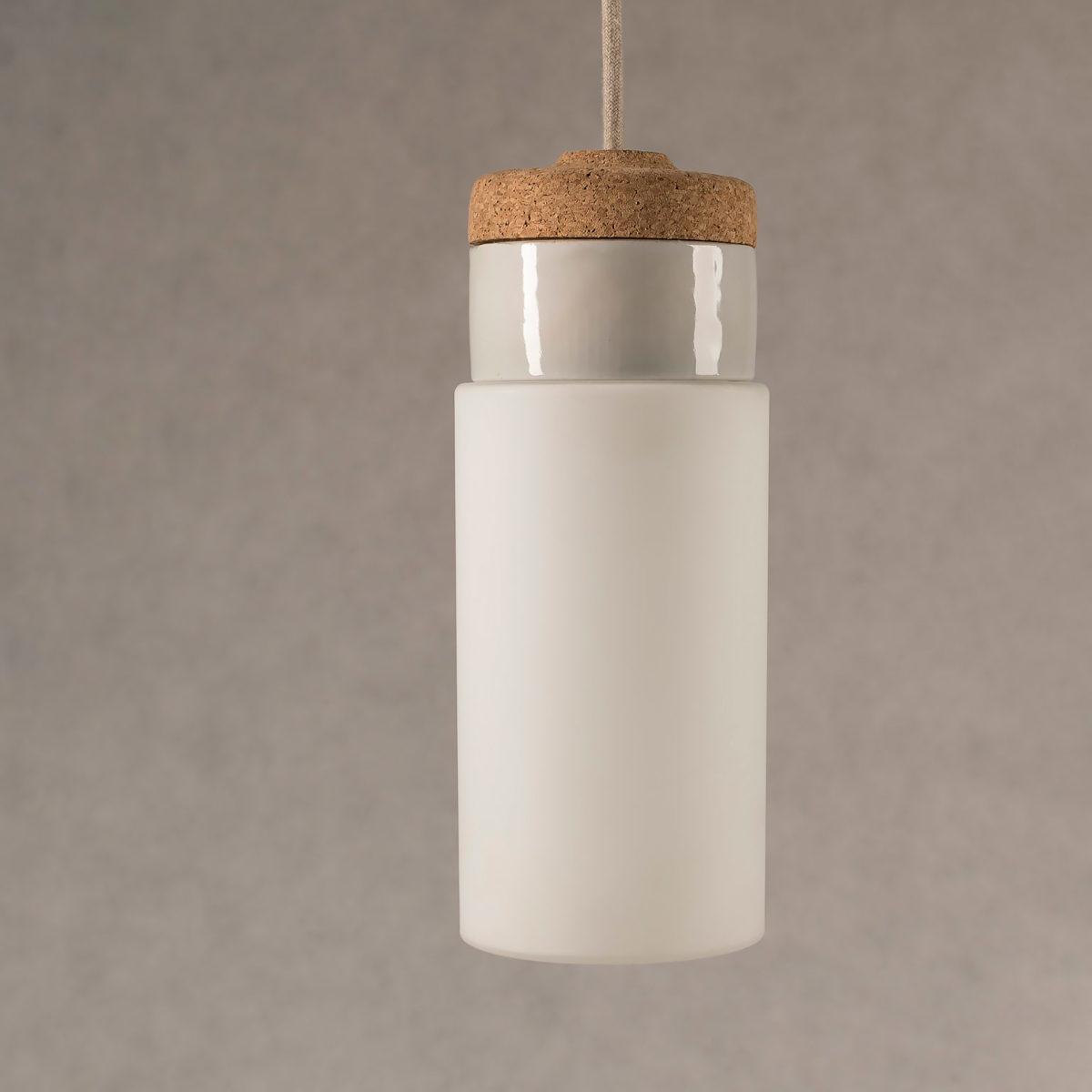 wisząca lampka korkowa z kloszem szklanym Cylinder