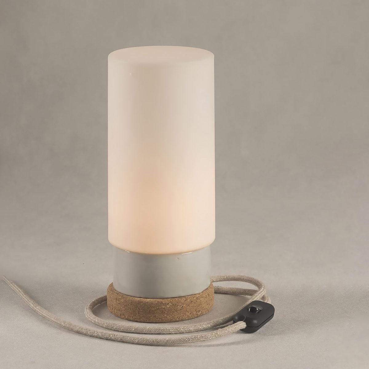 lampka korkowa ze szklanym kloszem cylinder