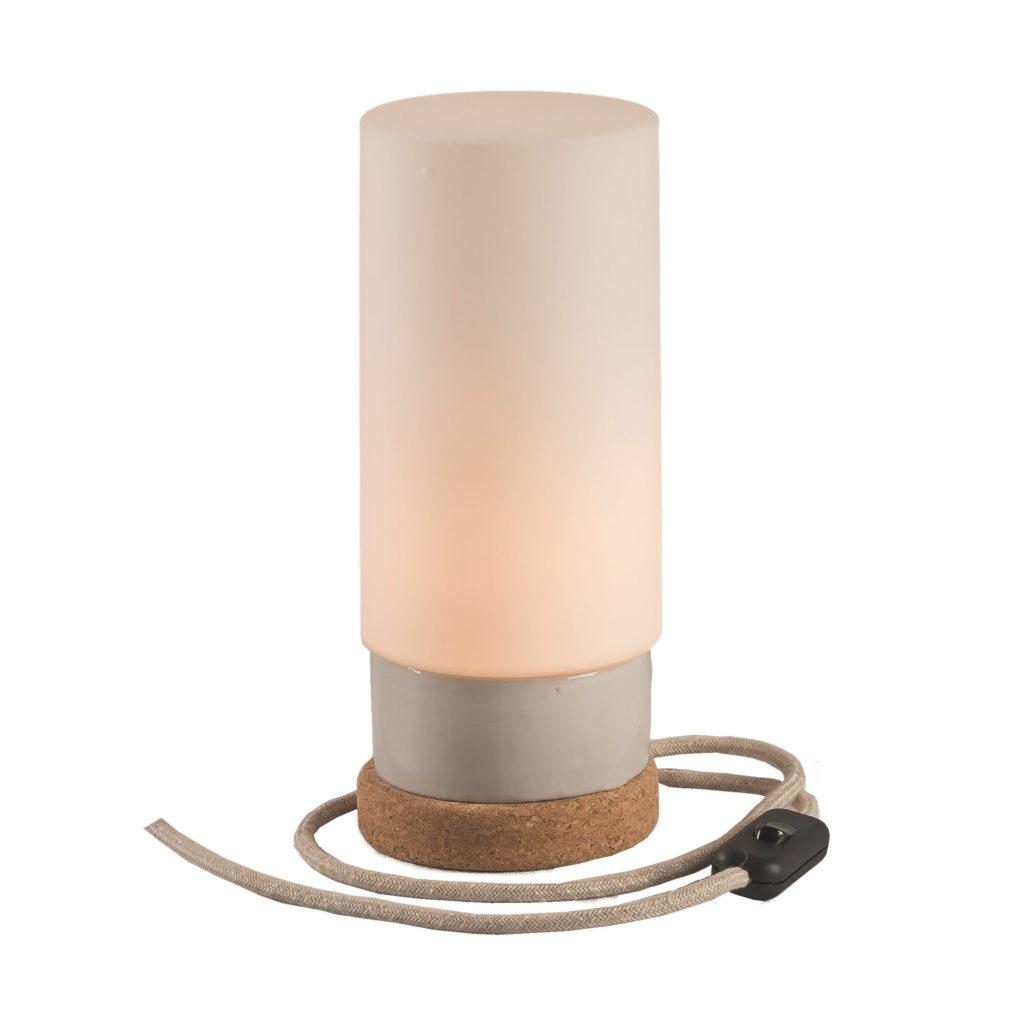 Mała stołowa lampka korkowa ze szklanym kloszem Cylinder 1