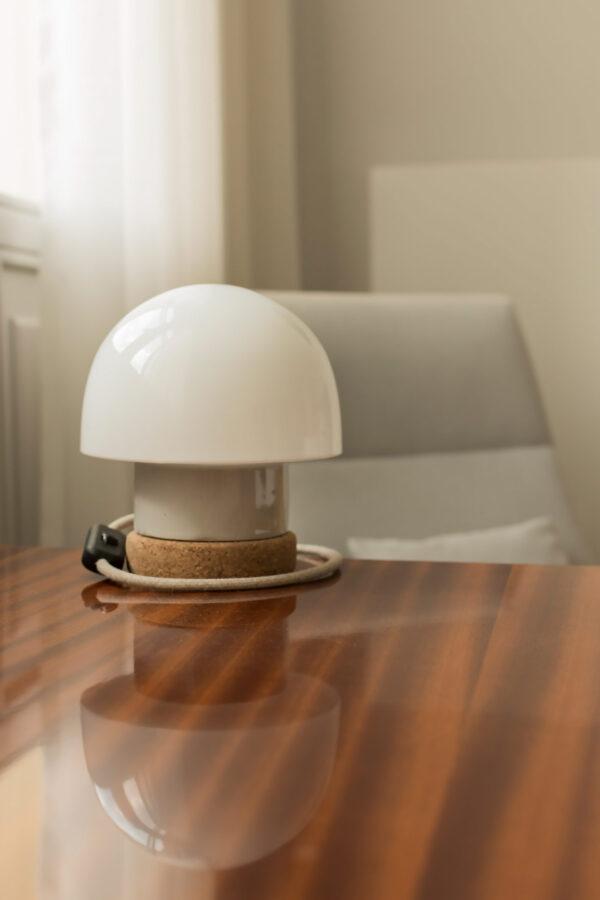 lampka korkowa ze szklanym kloszem Grzybek