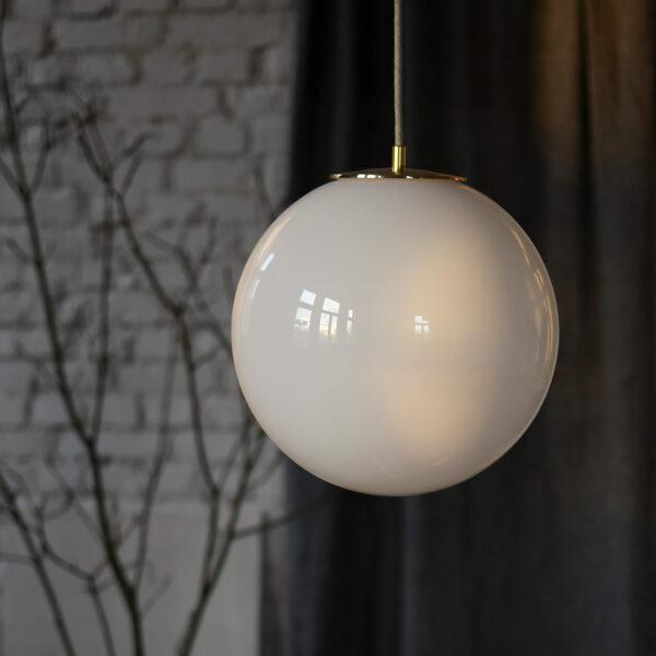 Glass Pendant Light White Ball