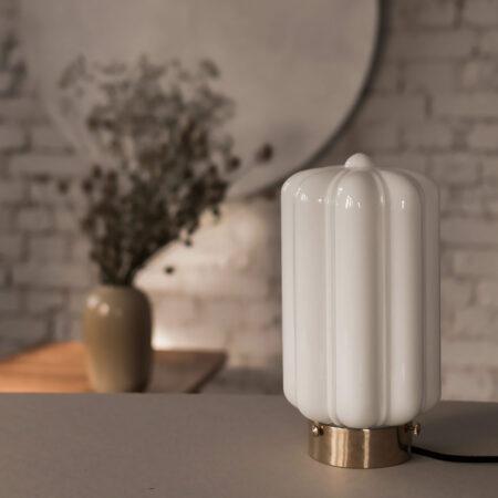 Szklana lampa stołowa Deco Białe