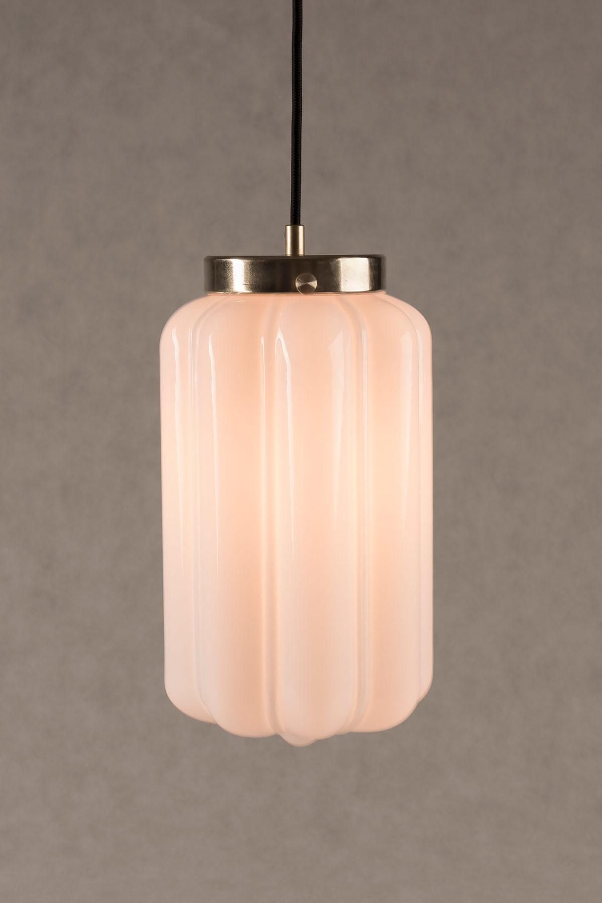 Szklana biała lampa wisząca Deco mleczne 2