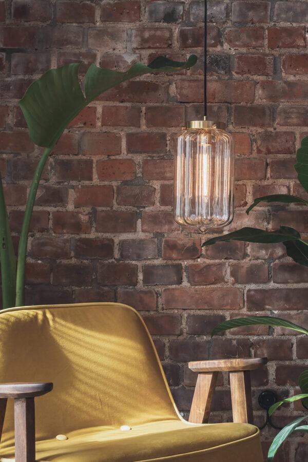 Szklana lampa wisząca Deco jasne z mosiężnym wykończeniem