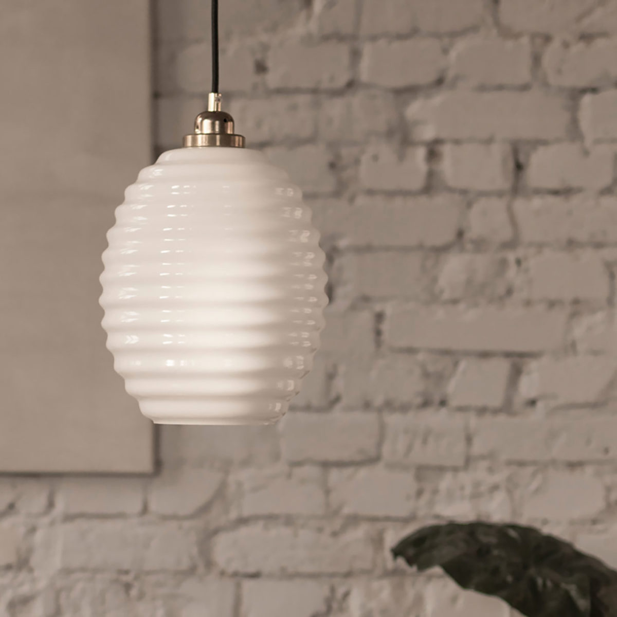 Glass Pendant Light Opaline Beehive