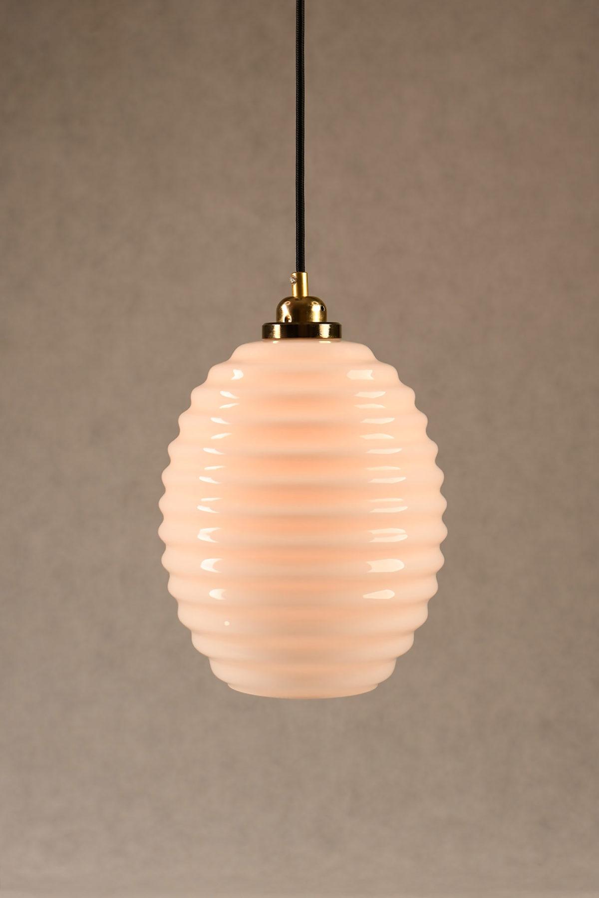 Glass Pendant Light Opaline Beehive