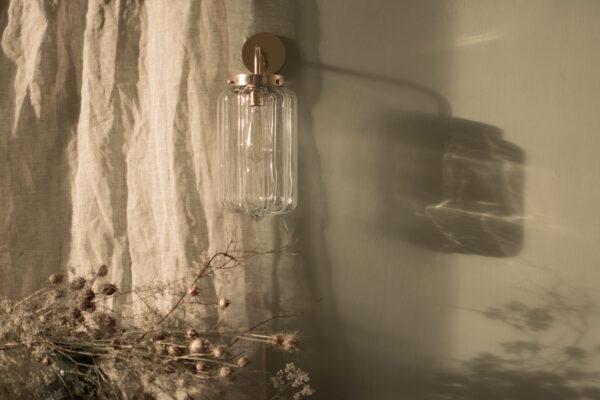 Szklany kinkiet Deco Jasne z mosiężnym ramieniem 3