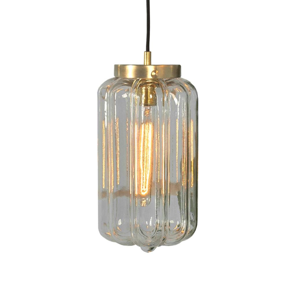 Szklana lampa wisząca Deco jasne z mosiężnym deklem