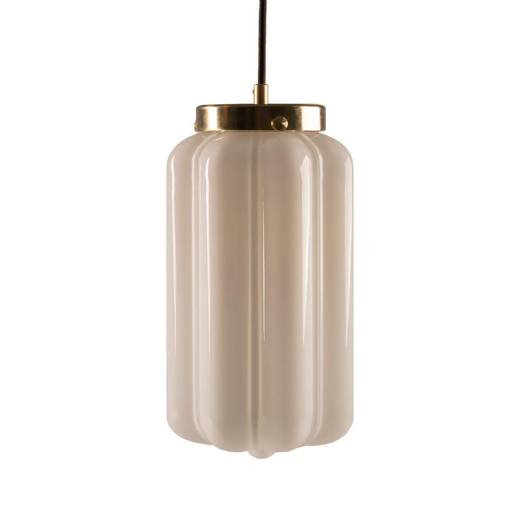Szklana lampa wisząca Deco Białe z mosiężnym deklem