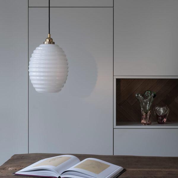 Glass Pendant Light Opaline Beehive 6