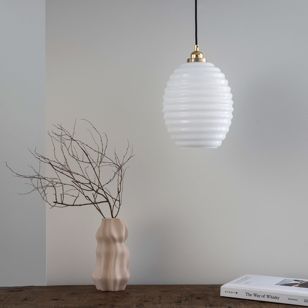 Glass Pendant Light Opaline Beehive 8