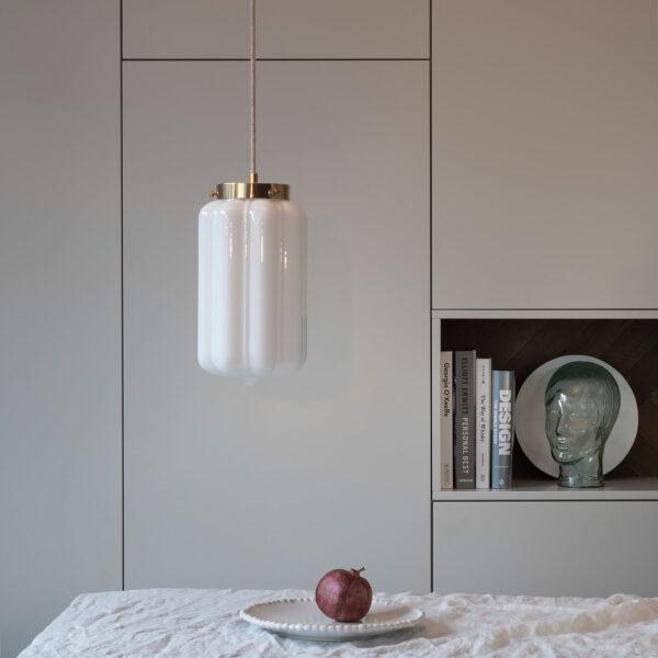 Glass Pendant Light White Deco 7