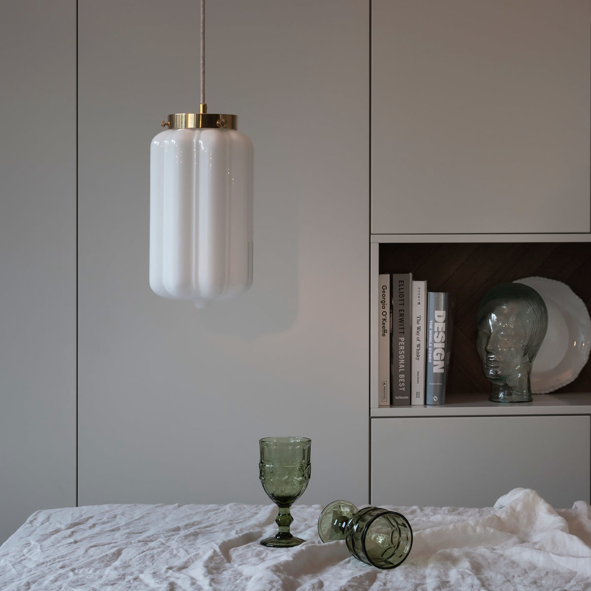Glass Pendant Light White Deco 9