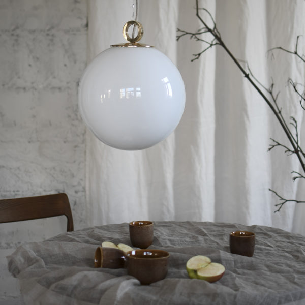 Glass Pendant Light White Ball With Ring